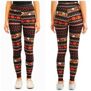Fall Fair Isle Pumpkin Leaves Soft Leggings Small